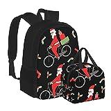 Rucksack mit Brotdose, Motiv Weihnachtsmann auf dem Fahrrad, geeignet für Teenager, Jungen, Mädchen, Reisen, Camping, Jugendrucksack