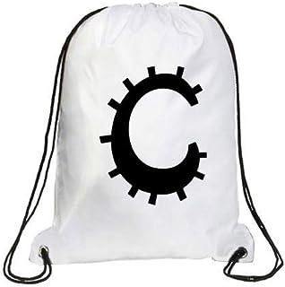 IMPRESS Drawstring Sports Backpack White with Joker Letter C