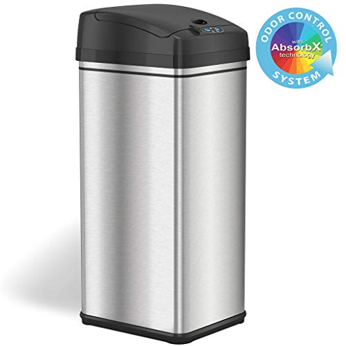 iTouchless 13 Gallon Stainless Steel Automatic Trash Can with Odor-Absorbing Filter and Lid Lock, Sensor Kitchen Garbage Bin, Power by Batteries (not included) or Optional AC Adapter (sold separately)
