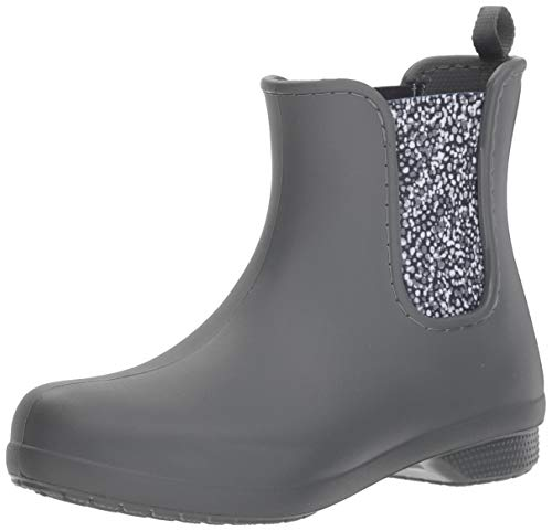 Crocs Women's Freesail Chelsea Ankle Rain Boots Water Shoes, Slate Grey/Dots, 6 M US
