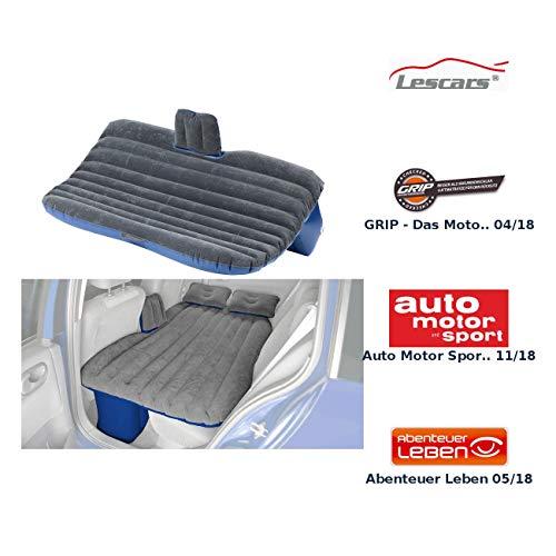 Lescars Autobett: Aufblasbares Bett für den Auto-Rücksitz mit 12-Volt-Luftpumpe (Autoluftmatratze)
