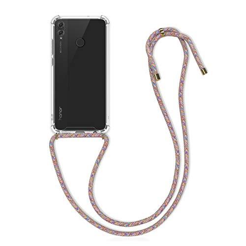 kwmobile Funda con Cuerda Compatible con Huawei Honor 8X - Carcasa Transparente de TPU con Cuerda para Colgar en el Cuello