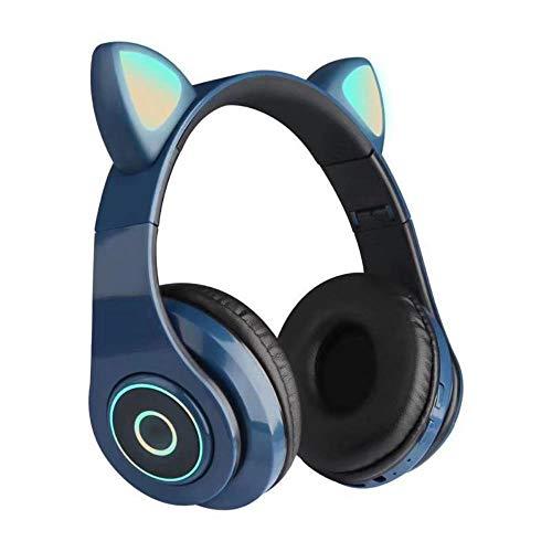 Mazu Homee Auriculares de juego, auriculares iluminados de música de dibujos animados, orejas de gato, auriculares inalámbricos con Bluetooth, aplicables a PC y PlayStation