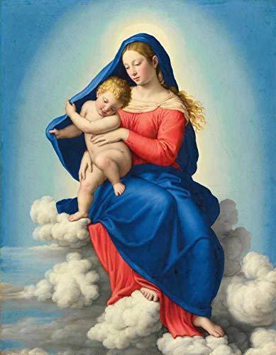 Virgem Maria e Jesus em Glória (1658) de Sassoferrato - 60x77 - Tela Canvas Para Quadro