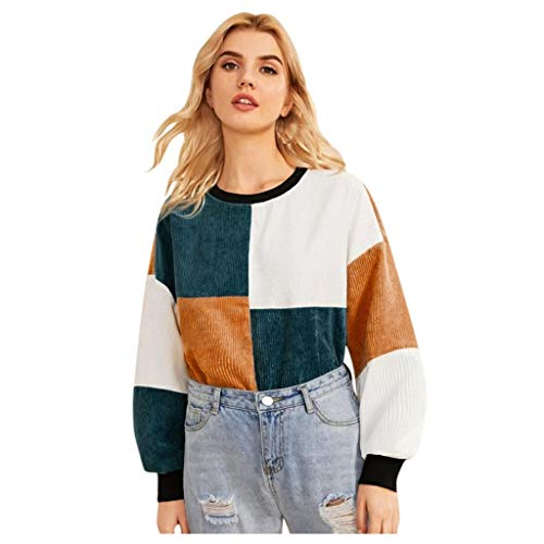 Best Price Ros1ock_Women's Tops Color Matching Comfortable Wick Cotton Long Sleeve Pullover Loose T-...
