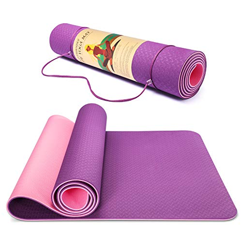 Smartor 6mm Extra Thick Yoga Mat for Women, Non-Slip Exercise & Fitness Mat with Carrying Strap, High Density Workout Mat for Yoga, Pilates & Floor Exercises, 72