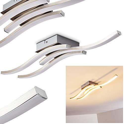 LED Deckenleuchte Letala, längliche Deckenlampe aus Metall in Chrom/Nickel-matt, 3-flammig, 15 Watt (3 x 5 Watt), 1500 Lumen insgesamt (3 x 500 Lumen), Lichtfarbe 3000 Kelvin (warmweiß)