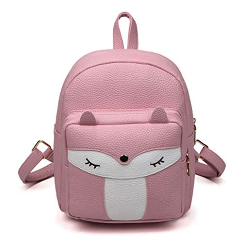 TWOPAGES Cute Mini Leather Fox Fashion Backpack Small Daypacks Purse for Girls, Pink