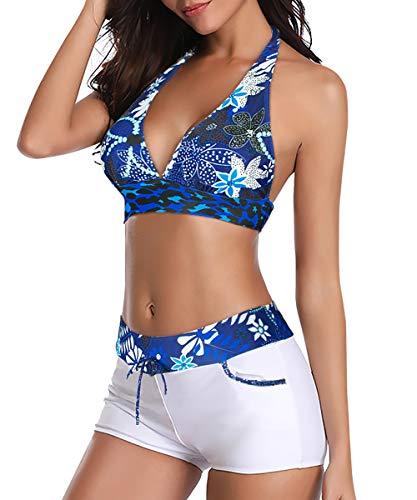 Durio Bikini Damen Set Bikini Verstellbar Zweiteiliger Badeanzug Push Up Bikini mit Hotpants Weiß mit Blauen Blumen 40