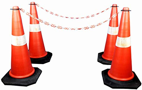 Roshan Safety Cone, PVC Road Traffic Cone, Light Weight 750mm, Orange Pack of (4 cones+4 mtr chain+ 4 hook) By Roshan International