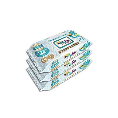 FlyFix TRFFXBD100020-3 Feuchttücher, Babytücher 100 Pcs. 3 Packungen, mehrfarbig