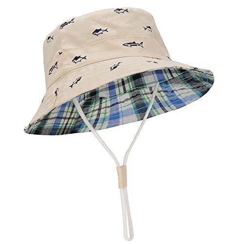 "Durio Baby Sun Hat Summer Beach UPF 50+ Sun Protection Baby Boy Hats Double Sides Toddler Sun Hats Cap for Baby Girl Kid Bucket Hat Beige 18.9""(48cm)/6-12 Months"