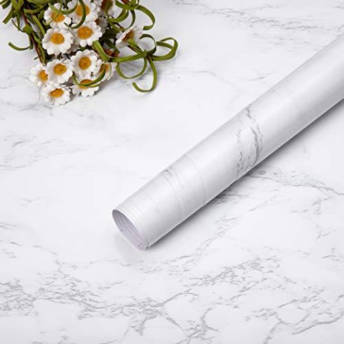Niviy Adhesivo Papel Marmol para Muebles de Cocina Pegatina Decorativa Armario Papel PVC Material Adhesivo Pared Antifouling Resistete a Humedad y Mancha de Grasa Blanco, 45cm * 200cm
