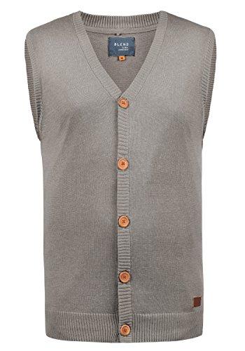 Blend Lennardo Herren Strickjacke Pullunder Cardigan Feinstrick Pulli Ärmellos mit V-Ausschnitt aus hochwertiger Baumwollmischung Meliert, Größe:M, Farbe:Zink Mix (70815)