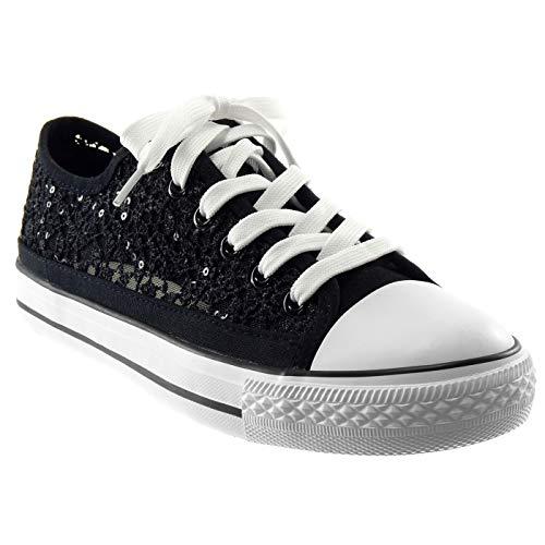 Angkorly - Damen Schuhe Sneaker - Spitze - Glitz Flache Ferse 2 cm - Schwarz BL130 T 37