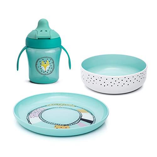 Suavinex - Set vajilla Hello Fox (Taza aprendizaje + Bowl + Plato). Vajilla bebés +6 meses. Vajilla apta para microondas, color verde