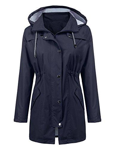Women Rain Jacket Lightweight Travel Trench Waterproof Raincoat Hoodie Windproof Hiking Coat Packable Rain Jacket Navy Blue L