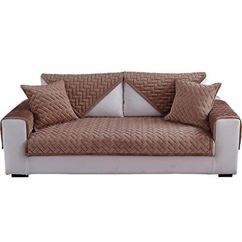 YUTJK Funda Universal para Sofá Antideslizante, Funda para Toalla de Sofá, Protector para Muebles, Acolchado de Felpa, Cojín de sofá cálido de Terciopelo de Cristal, para otoño, marrón