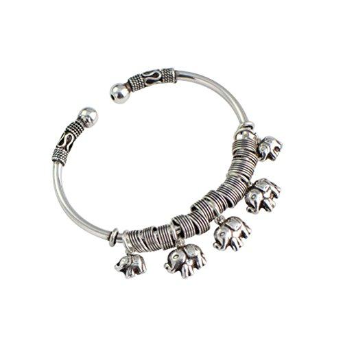 Jade Angel Sterling Silber Elefant Charm Armband Thai Silber Vintage Schmuck