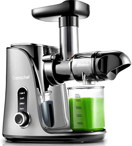 Extracteur de Jus, AMZCHEF Extracteur à Jus de Fruits et Légumes avec 2 vitesses/2 bouteilles deau portable (500ml)/écran LED/brosse de nettoyage et moteur silencieux pour légumes et fruits,Argent