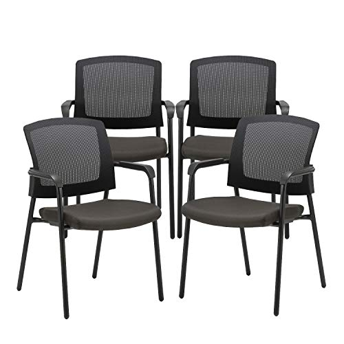 CLATINA Office Reception Guest Chair Mesh Back Stacking with Ergonomic Lumbar Support and Thickened Seat Cushion for Waiting Conference Room Black 4 Pack
