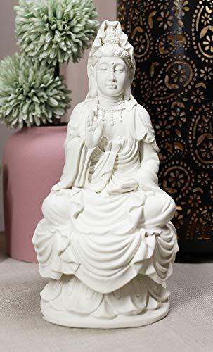 Ebros Buddhism Eastern Enlightenment Water And Moon Goddess Kuan Yin Meditating On Lotus Throne Statue Buddha Themed Religious Decorative Altar Figurine 7' Tall Sculpture Decor Feng Shui Zen Buddhist