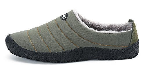 DAFENP Zapatillas de Casa para Hombre/Mujer Zapatillas Fluff Antideslizantes Invierno Cálido Confortables Casa Interior/al Aire Libre XZ322-grey-EU36
