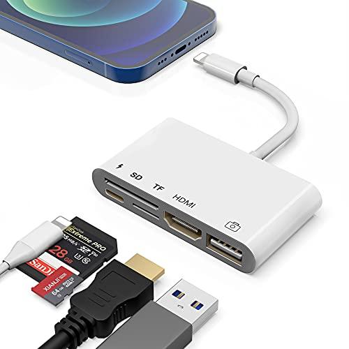 Adattatore da Lightning a HDMI USB, adattatore AV digitale HDTV 1080P 5 in 1 Lettore di schede HDMI SD TF Interfaccia USB OTG e porta di alimentazione Compatibile con telefono/pad per TV/proiettore