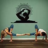 ganlanshu Yoga Bow Pose Position Wall Sticker Vinyle Wall Sticker Mandala Bouddha Design Intérieur Home Applique Houseware 61cmx75cm