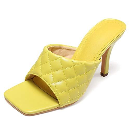 Sandalias De Tacón Alto Aguja Para Mujer Mulas Punta Abierta Cuero Artificial Correa Verano Zapatos De Ocio,Amarillo,40