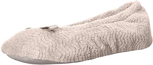isotoner womens Chevron Microterry Ballerina House Slipper Ballet Flat, Taupe, 8-9 US