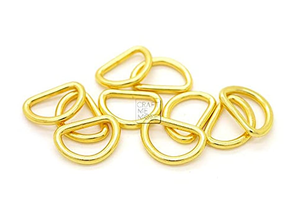 CRAFTMEmore 3/8 or 1/2 Inch Tiny D-Ring Findings Metal Welded D Rings for Zip Connector Puller Landyard Purse Making Pack of 50 (Gold, 1/2 Inch) smkpfbkz3734