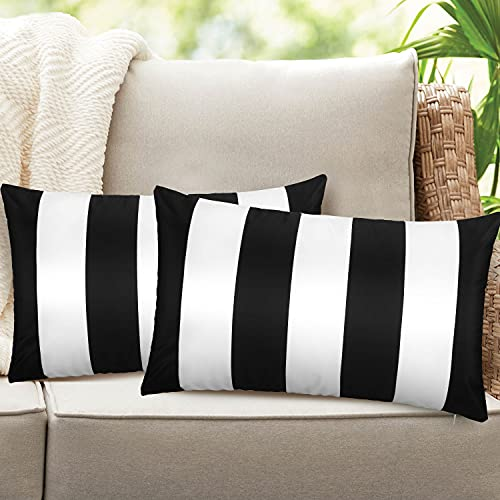 Homthumb Outdoor Pillow Covers 12x20 inch,Waterproof Decorative Throw Cushion Case Pillowcase for Patio Garden Furniture Couch Bench Tent - Pack of 2 Pillow Covers Black&White