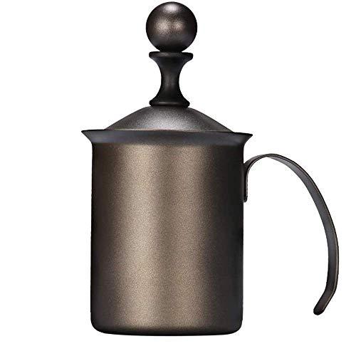 Montalatte Maker Manuale Montalatte in Acciaio Inox a Doppia Maglia del Montalatte Schiuma con Manici e Coperchio Brocca Cup for Cappuccino Latte Strumento di Decorazione (Colore: Nero Teflon) WTZ012