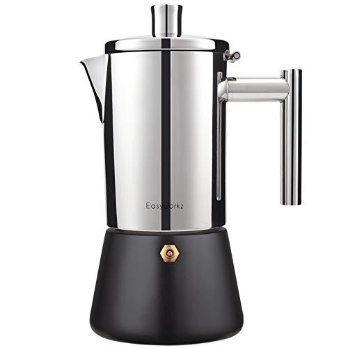 Easyworkz Diego - Cafetera italiana de acero inoxidable para 4 – 6 tazas de café espresso para 4 – 6 tazas de 300 ml para gas de...