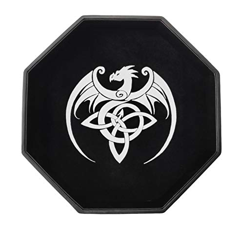 Dragon's Breath Dice Tray for Rolling, RPG Gaming Dungeons & Dragons DND, 11.5' Large Surface, Premium Velvet & PU Leather, Noise Reduction, Celtic Dragon Tabletop D&D