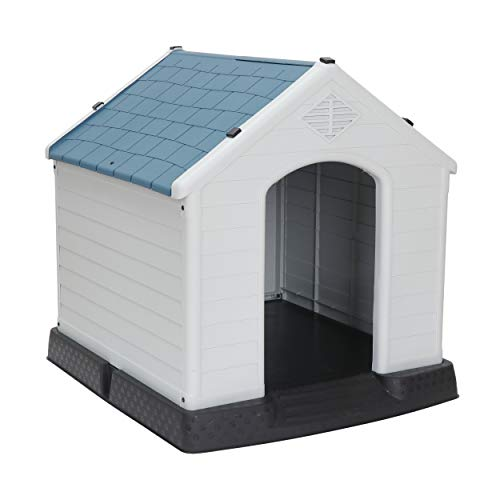 ZenStyle Dog House Medium/Small Pet Kennel Waterproof & Ventilate Shed with Air Vents & Elevated Floor for Outdoor & Indoor
