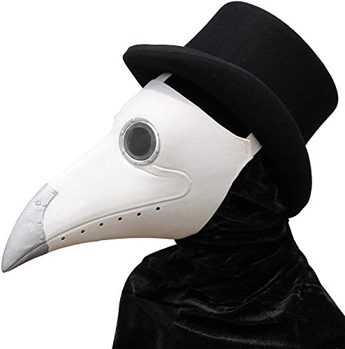 Pájaros Plague Doctor Nariz de Cosplay Fancy diseño gótico Steampunk Retro Máscara de Rock (Blanco)