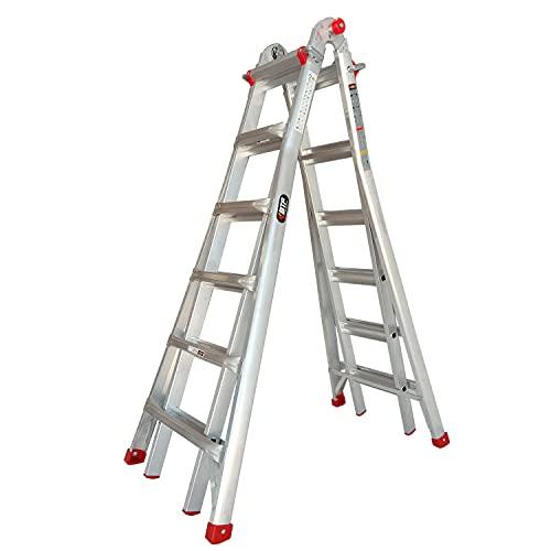 Escalera Telescópica Plegable Profesional 4x6 peldaños en Aluminio | Extensible hasta 6,10 Metros y en Tijera 3,05 Metros | Escalera Multiusos Extensible 12+12 peldaños, Peso 20,2 Kg
