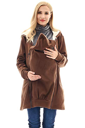 Bearsland Women's Babywearing Pregnancy Jacket Coat Fleece Maternity Baby Carrier Hoodie Sweater,Brown,XL