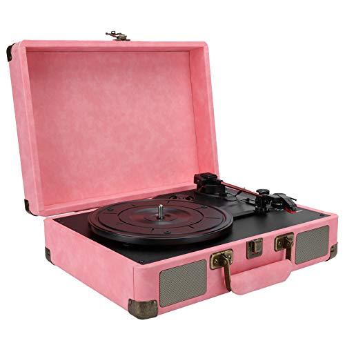 Giradischi Bluetooth con valigia, giradischi retrò portatile giradischi giradischi con altoparlante stereo, lettore di dischi LP a 3 velocità 33/45/78 giri / min, con jack per cuffie/Aux(rosa-UE)