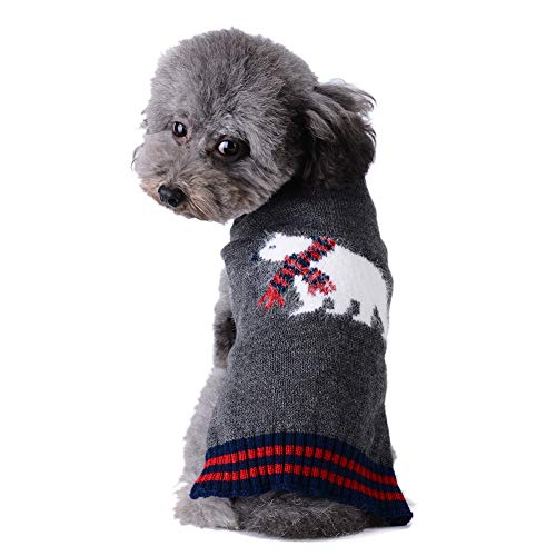 Tengzhi Soft Cozy Dog Sweater Classic Xmas Pet Casual Outfit Costume Fashion Holiday Sweater Knit Jacket for Schnauzer Bulldog Puppy Clothes for Christmas (Gray Polar Bear, M)