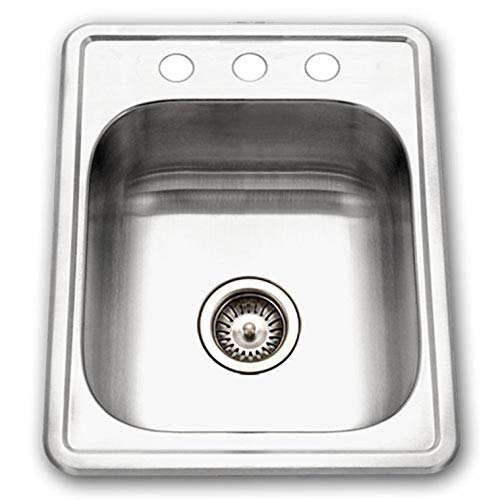 Houzer A1722-7BS-1 ADA Glowtone Topmount Stainless Steel 17' x 22' Sink with 3 Holes