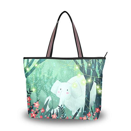 Große Schultertasche Elefant Handtasche mit Reißverschluss Strandtasche für Frauen Mädchen, Mehrfarbig - Multi - Größe: Medium