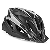 Bike Helmet for Adults Men Women with Detachable Visor, Bicycle Cycling Helmet for Road Biking, Adjustable 21.26-24.41 Inches (Black Gray)