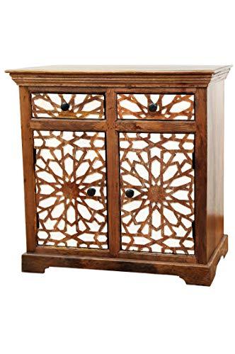 Oosterse commode sideboard Rabat 90cm bruin wit | Orient vintage commodekast oosters met de hand versierd | Indiase landhuis dressoir van hout | Aziatische meubels uit India