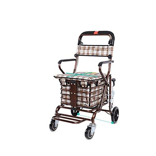 Wagen Alter Mann-Laufkatzen-Einkaufswagen-Alter Mann-Unicycle kann schieben kann faltenden Walker Four Shopping Scooter sitzen (Farbe : Weinrot)