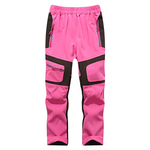 CIKRILAN Children Outdoor Anti-UV Lightweight Sports Trousers Boys Girls Breathable Quick Dry Long Pants(120,Pink)