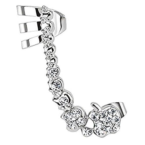 Mia Nova Cartílago Clip de Pendientes Joyas Helix Cartilage Piercing Ear Cuff con manzana flor plata