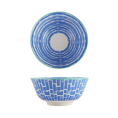 GAOFQ Tableware, Tools for Dining Large Fruit Salad Cereal Bowl Soup Ramen Pasta Mixing Serving Bowl Lovely Creative Hand Painted Ceramic Tableware Oven Microwave Safe 6 Inches,Blue